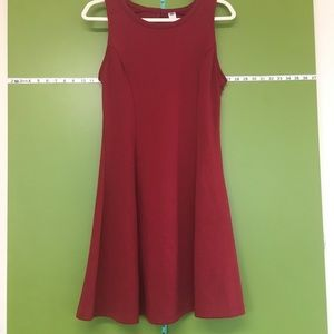ON red knit A-line keyhole dress